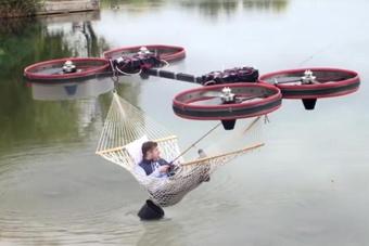 四轴飞行器变身飞行吊床