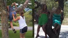 调皮,妹子爬树被勾掉裙子