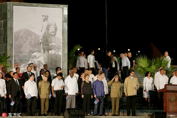 卡斯特罗骨灰抵达落葬地 多国领导人参加最后送别