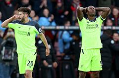 利物浦半场狂丢4球 遭读秒绝杀