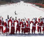 韩国圣诞老人集体现身滑雪场 庆祝雪季到来