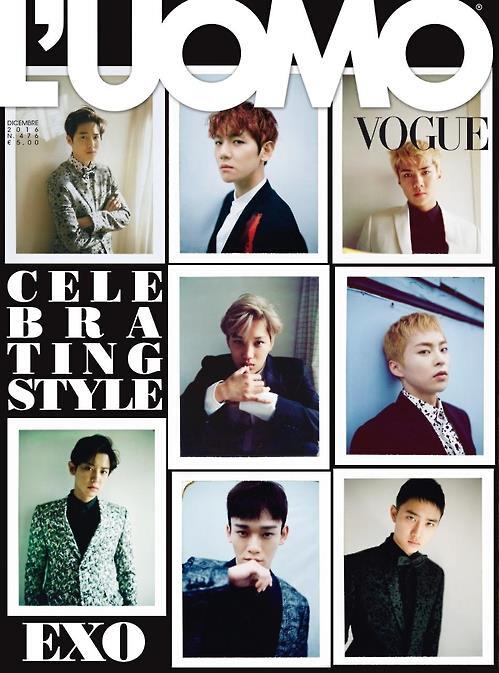 韩男团EXO登意大利《L'uomo Vogue》封面