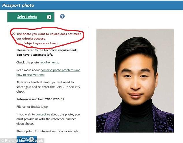 """亚裔男子证件照被识别为""""闭眼"""" 发大眼照回应"""