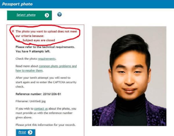 """亚裔男子护照被拒 面部识别软件认为""""眼睛是闭着"""""""