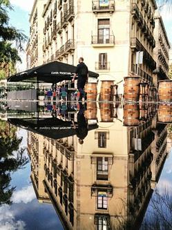 加男子巧用手机在水坑中拍平行世界