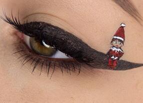 专属于圣诞节日的猫眼妆容,年末也要让自己美美的。