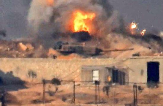 疑似土耳其豹2A4坦克被击毁