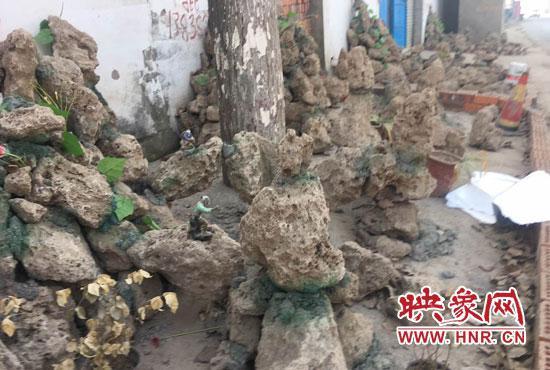 村民为向政府多要赔偿堆起假山 在水泥地上种树