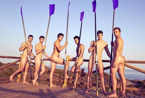 英大学赛艇队员拍日历 肌肉猛男养眼