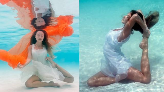 大神玩出新花样 海底瑜伽更和谐更梦幻