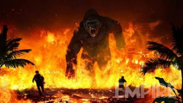 《金刚:骷髅岛》概念图 暴怒金刚烈炎中冲出