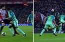 GIF-裁判漏掉红牌+两点球 巴萨抗议却连吃三黄牌