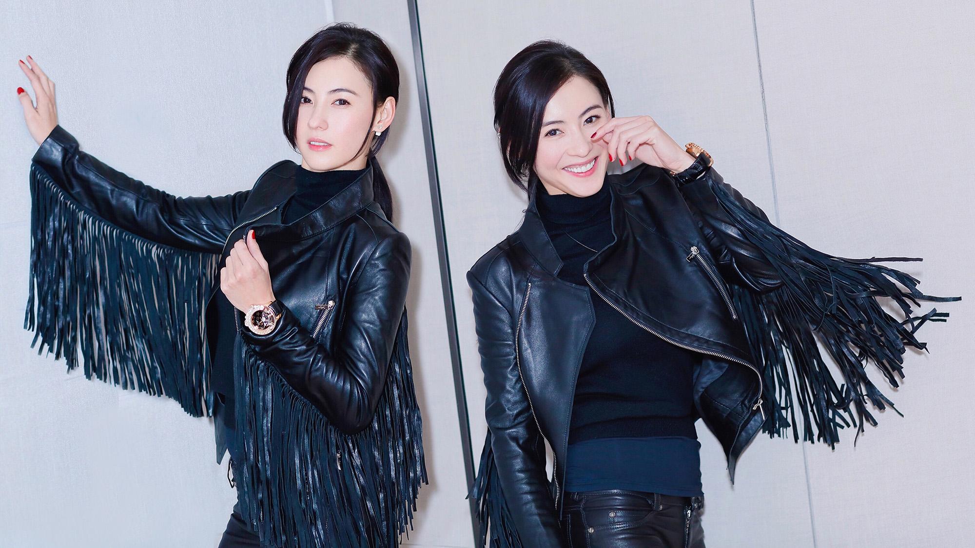 张柏芝诠释双面魅力 皮衣帅气纱裙妩媚