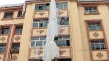 新疆居民楼惊现20米冰柱
