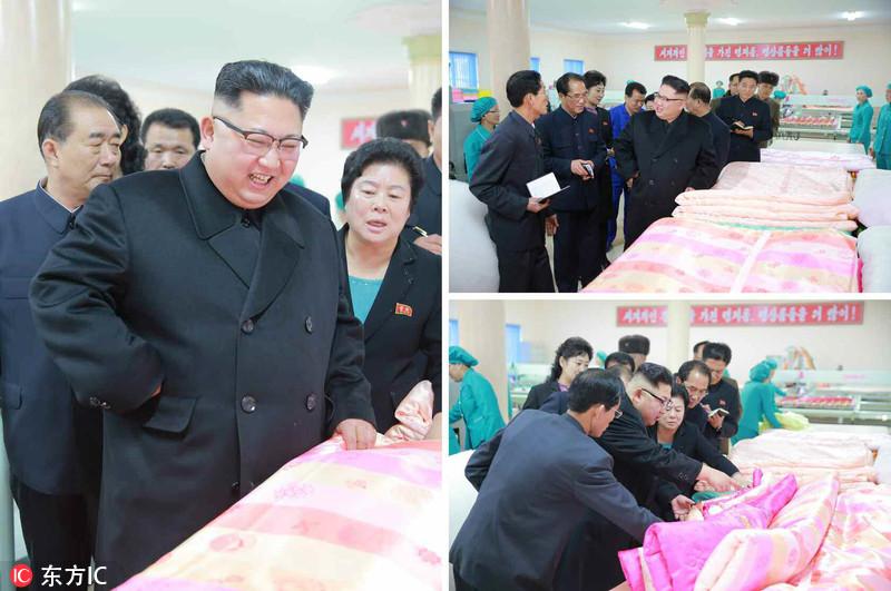 当地时间2017年1月8日,据朝鲜《劳动新闻》报道,金正恩近日视察金正淑平壤纺织工厂,这是他进入新年来的第二次公开活动。据悉,金正恩视察工厂内的被褥生产车间,对产品质量感到满意,并走访了新建的工人宿舍。