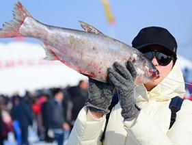 辽宁最大淡水湖举行冬捕节 头鱼拍卖近66万