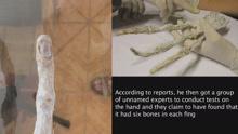 秘鲁沙漠发现疑似外星人手骨 长达20厘米