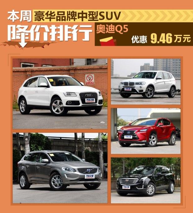 奥迪Q5降9.46万元 豪华中型SUV降价排行