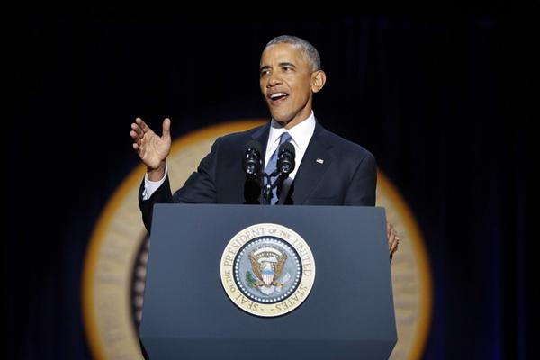 美国总统奥巴马在芝加哥发表告别演讲