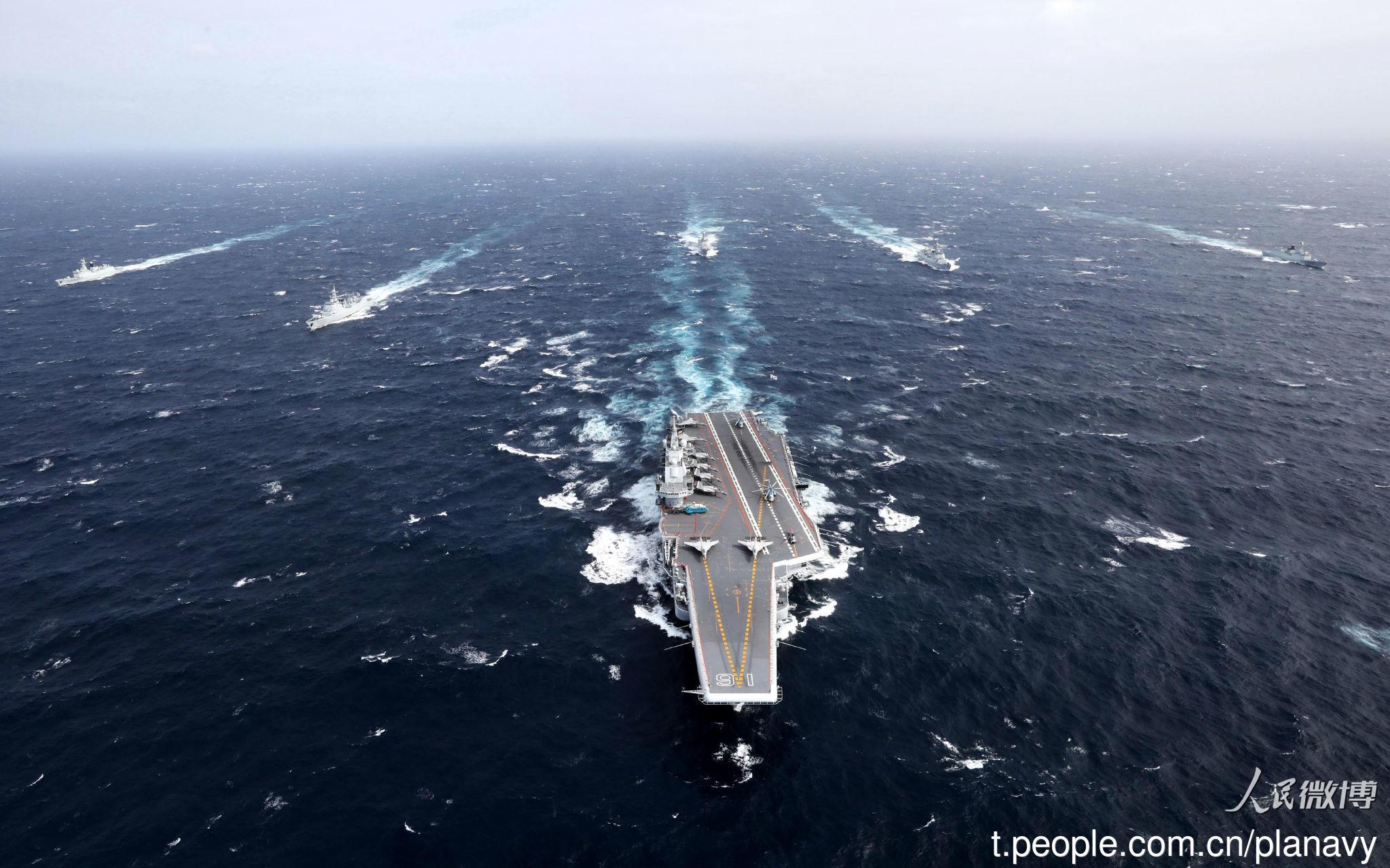 台媒:辽宁舰今早已脱离台湾海峡继续向北航行