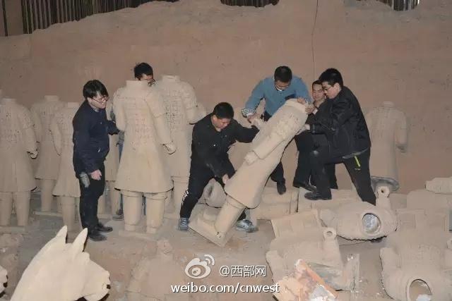 西安销毁山寨兵马俑40余个 面积达600平方米