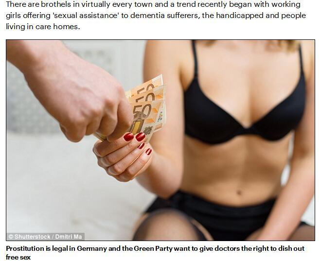 德国绿党承诺为穷人支付嫖妓费用 病人可免费嫖