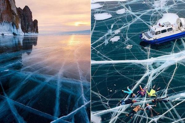 贝加尔湖千里冰封 晶莹剔透让人赞叹