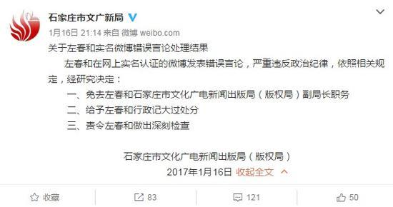 石家庄一副局长在网上发表错误言论被免职