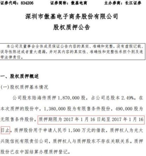 """傲基电商股权质押公告现""""乌龙"""" 质押期限仅1天"""