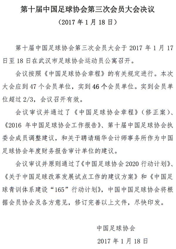 足代会决议公布 原则通过《中国足球协会2020行动计划》