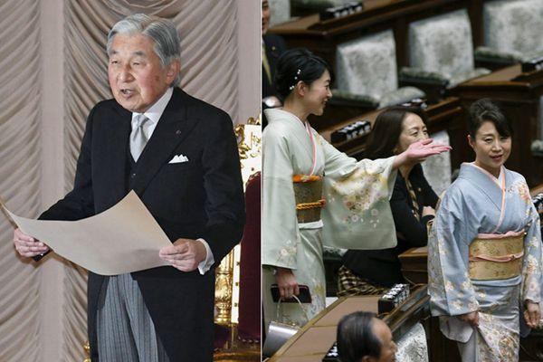 日本常会召开商榷天皇退位事宜 女议员着和服出席