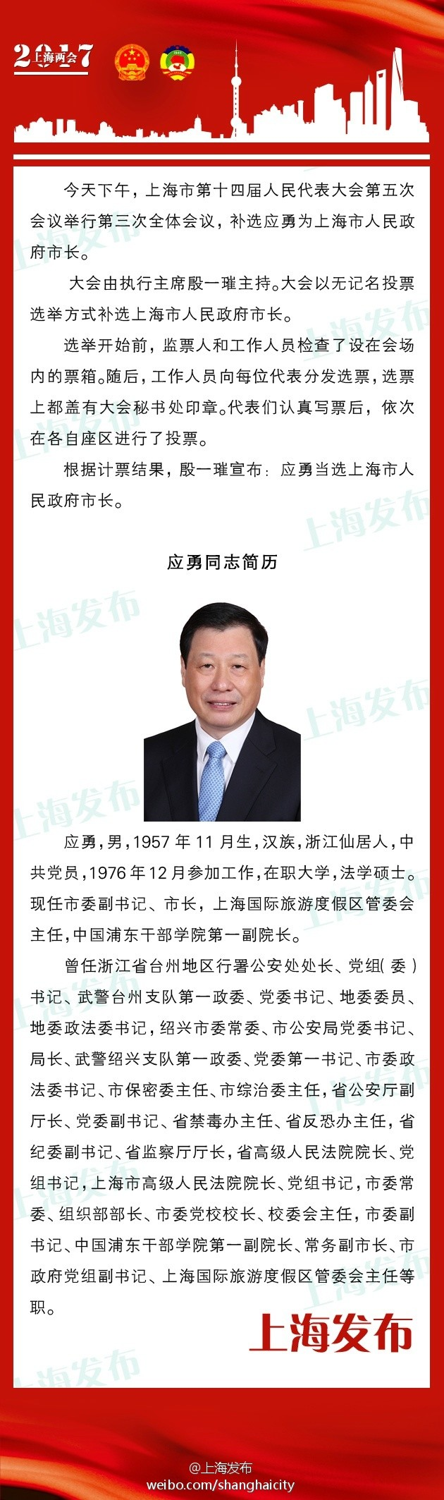 应勇当选上海市人民政府市长