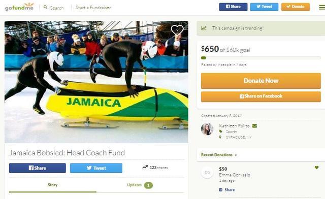 牙买加雪橇队为战平昌冬奥 众筹6万美元请教练