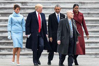 特朗普就职典礼结束 送奥巴马离开