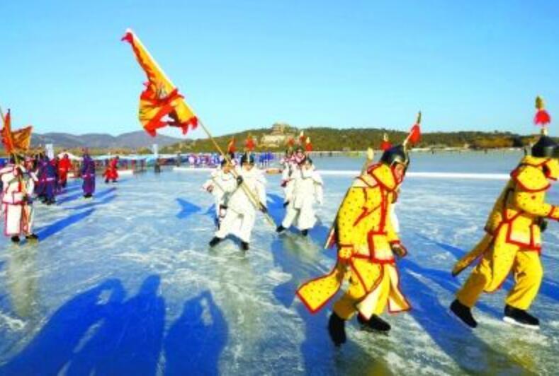 颐和园50万平方米冰场开放 首次搭建42米冰滑梯