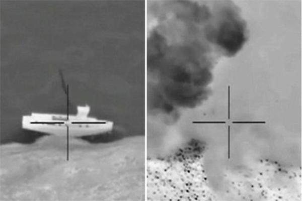IS被发现坐船逃离被击毁 美军公布轰炸画面