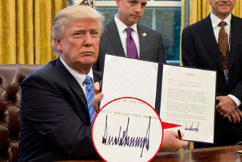 """笔迹专家:特朗普签名酷似""""地震记录"""""""