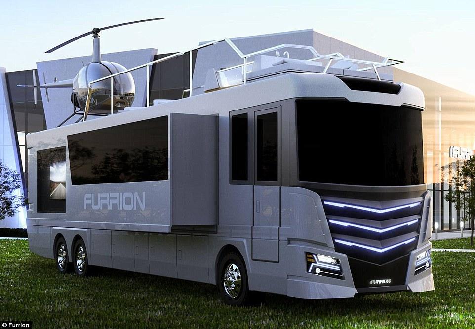 美公司推出豪华科技房车 车顶配直升飞机防堵车