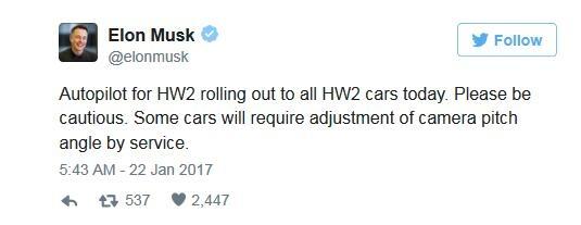 特斯拉推送更新 自动驾驶模式限速45mph
