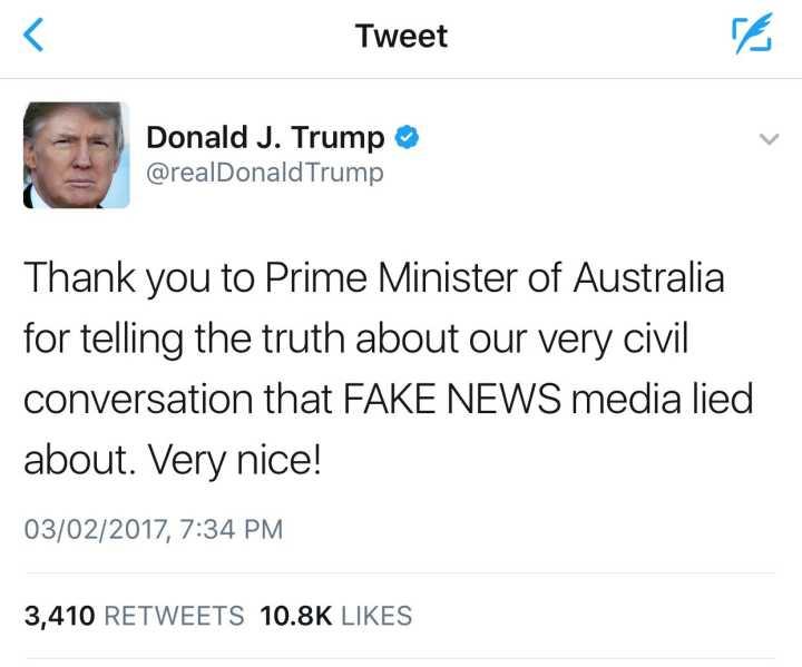 特朗普否认挂澳总理电话并批媒体造假:我们的交谈很友好