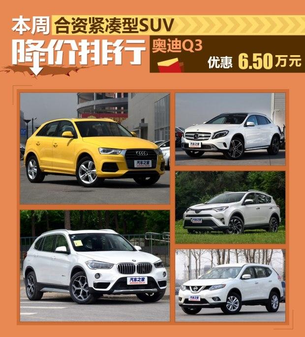 奥迪Q3降6.5万 合资紧凑SUV车降价排行