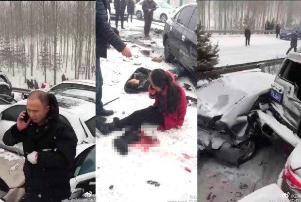 突发情况!哈大高速雪天路滑致百车相撞