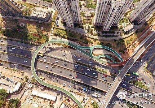 """中国首条空中自行车道,无红绿灯""""空中骑行"""""""