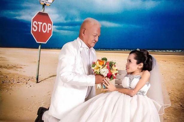 泰国女子天生长不高  与年长30岁新郎办理想婚礼