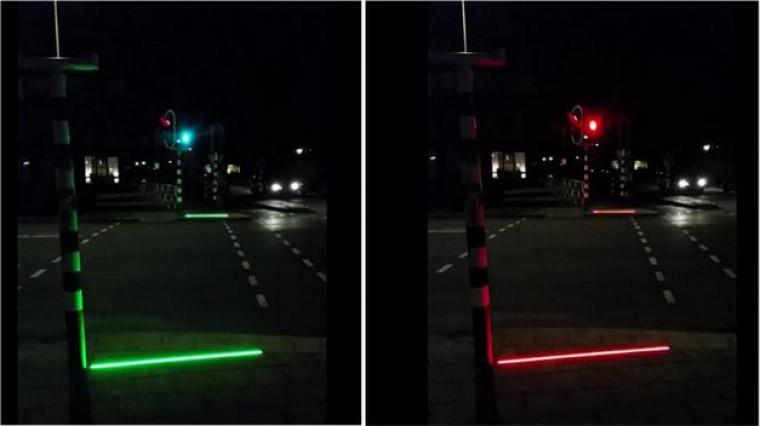 """荷兰小城为""""低头族""""设置专属路面交通灯"""