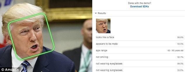 亚马逊Rekognition可识别人脸 估算年龄范围