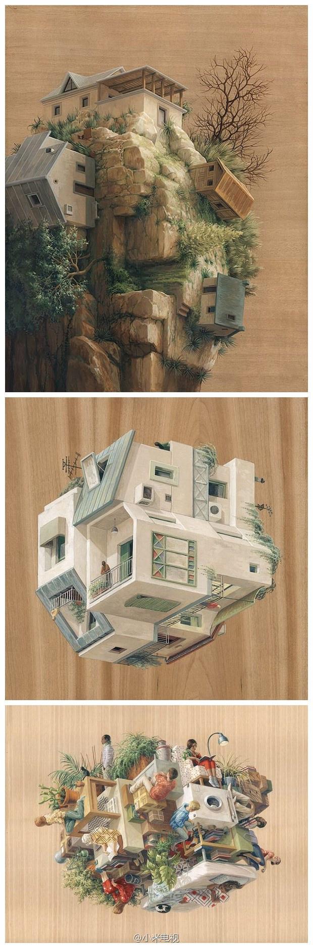 #早安#这组奇妙多维建筑插画,你最喜欢住哪一间?(via  Cinta Vidal Agulló)