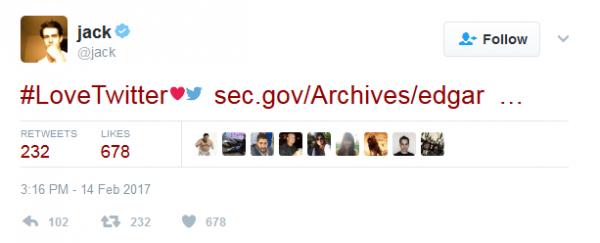 杰克·多西和Twitter秀恩爱 花700万美金购入股票
