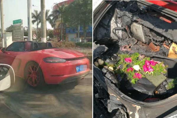 男子情人节开保时捷赴约 车起火玫瑰被烧焦