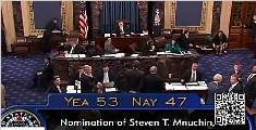 美参议院批准努钦 出任财政部长